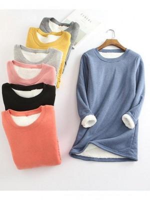 Casual FleeceBlend Round Neck Solid Long Sweatshirt
