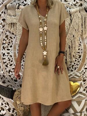 Casual Cotton Blend VNeck Short Sleeve Dresses