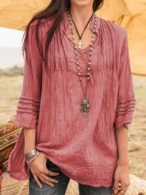 Boho Guipure Lace Linen Shirt