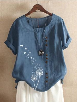 Flower Birds Print Short Sleeve Button Tshirt