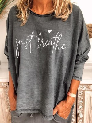 Letter Casual Long Sleeve CottonBlend Shirts & Tops