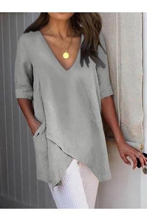 Half Sleeve Irregular Plus Size Asymmetrical Blouses