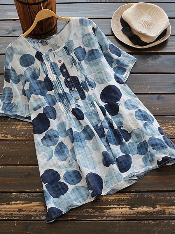 Short Sleeve Printed Crew Neck Casual Blouse