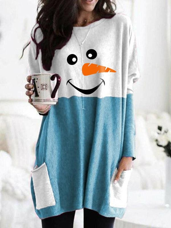 Cozy Christmas Snowman Face Long Shirt