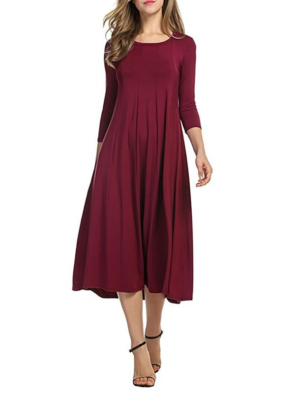 Elegant Crew Neck Daily 3/4 Sleeve Solid Dress