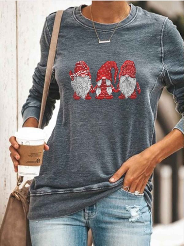 Women's Scandinavian Christmas Gnomes Print Sweatshirt