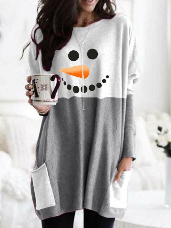 Ladies Snowman Smiley Carrot Nose Print Sweatshirt