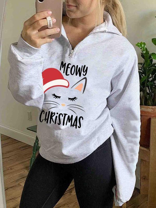 Ladies Cat Christmas Hat MEOWY CHRISTMAS Letter Print Zip Neckline Long Sleeve Sports Sweatshirt