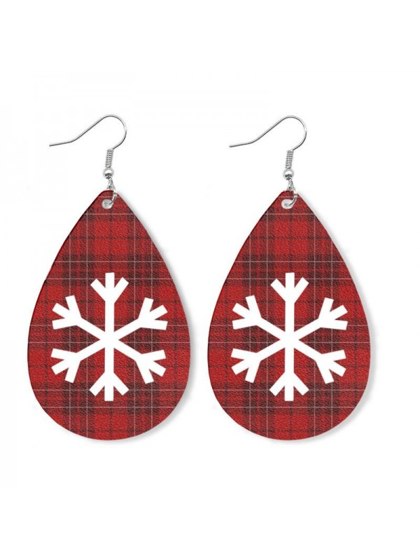 Christmas Elk Snowman Leather Earrings