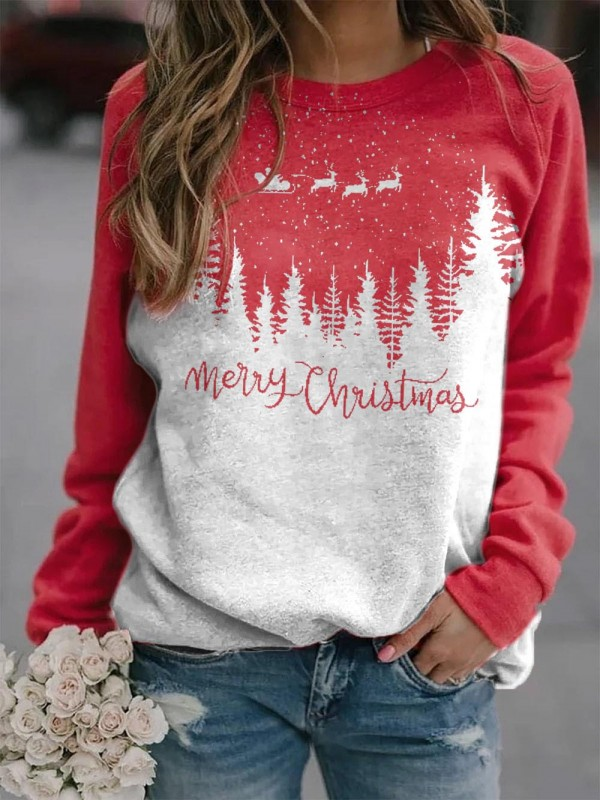 Women's Merry Christmas round neck comfortable Sweatshirt