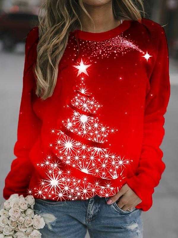 Christmas Tree Printed Crew Neck Sweatshirt