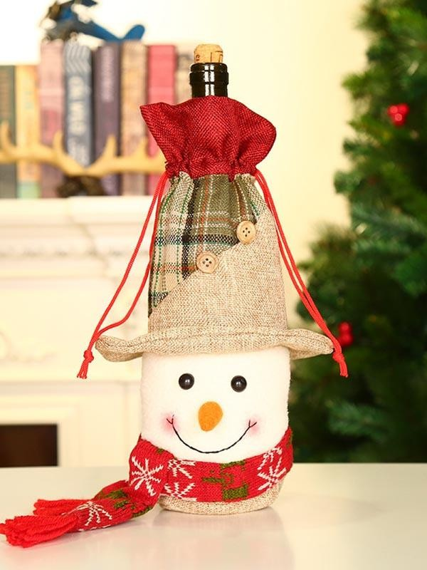 Christmas Santa Snowman Elk Wine Bottle Decoration Set