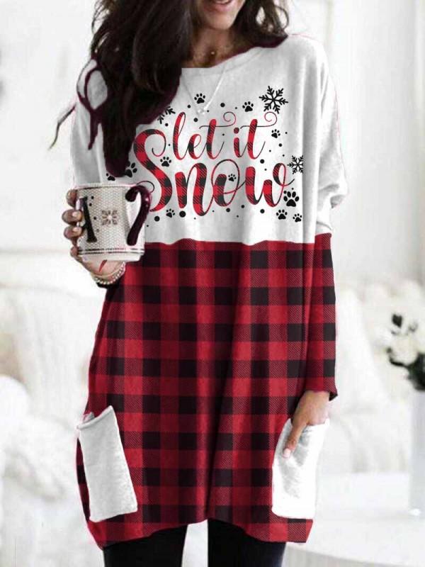 Ladies Christmas Let It Snow Pet Paw Print Plaid TShirt