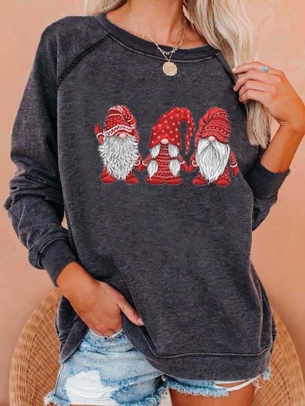 Gnomes Print Cozy Sweatshirt