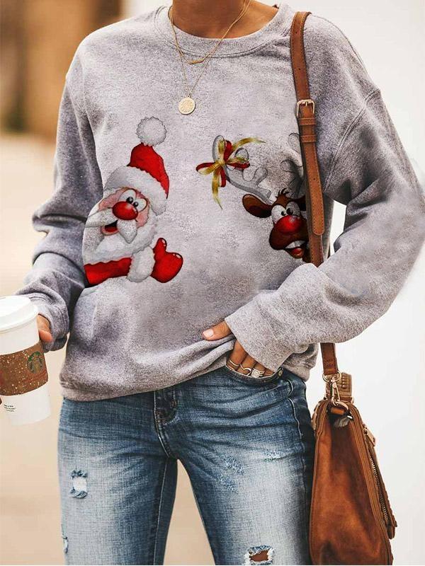 Ladies Christmas Print Sweatshirt