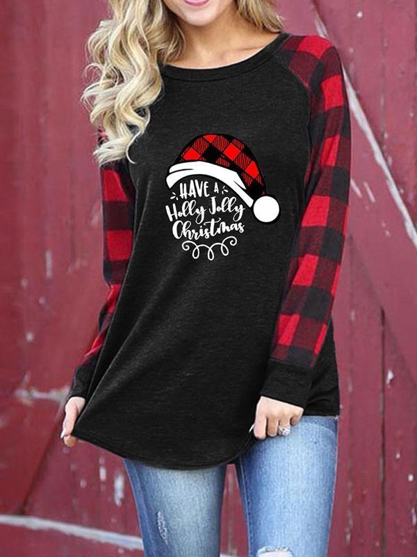 Ladies Plaid Christmas Print Round Neck Long Sleeve Top Tshirt