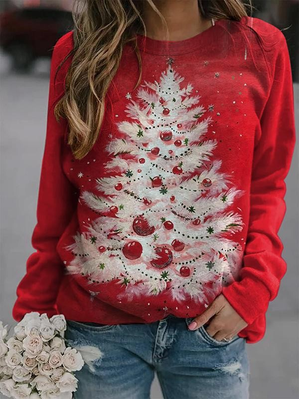 Ladies Christmas Tree Print Sweatshirt
