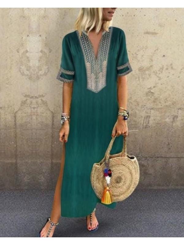 V neck Shift Women Daily Statement Half Sleeve Slit Solid Maxi Dress