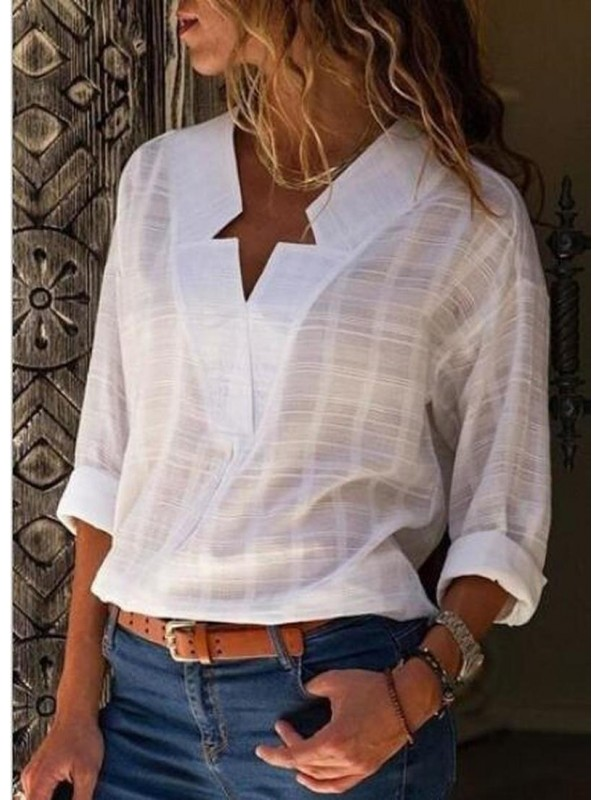 Sexy V Neck Pure Color Long Sleeve Blouse