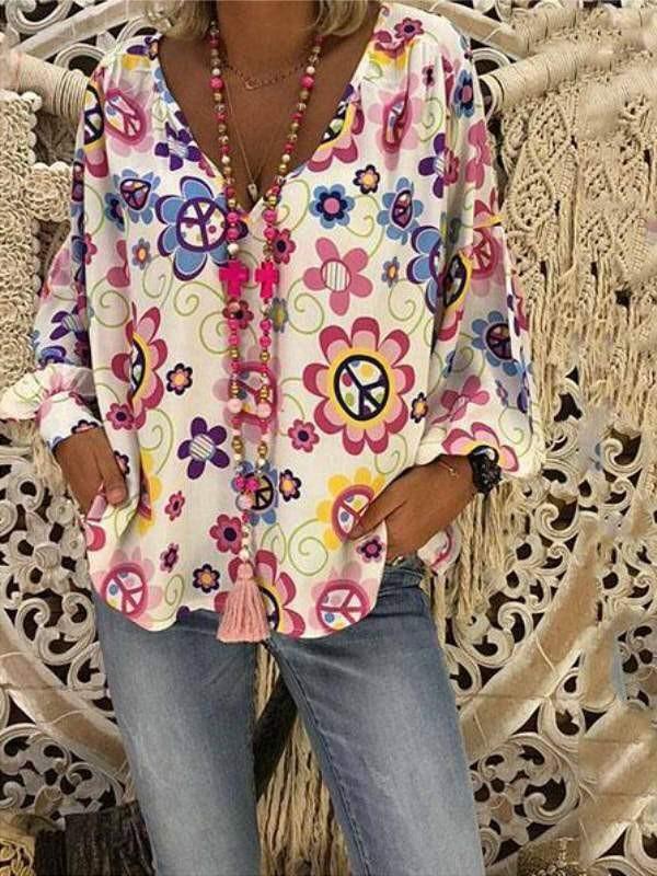 V Neck Flower Printed Loose Blouse