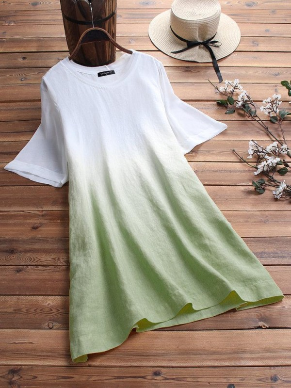 Gradient Short Sleeve Loose Oneck Casual Tshirt