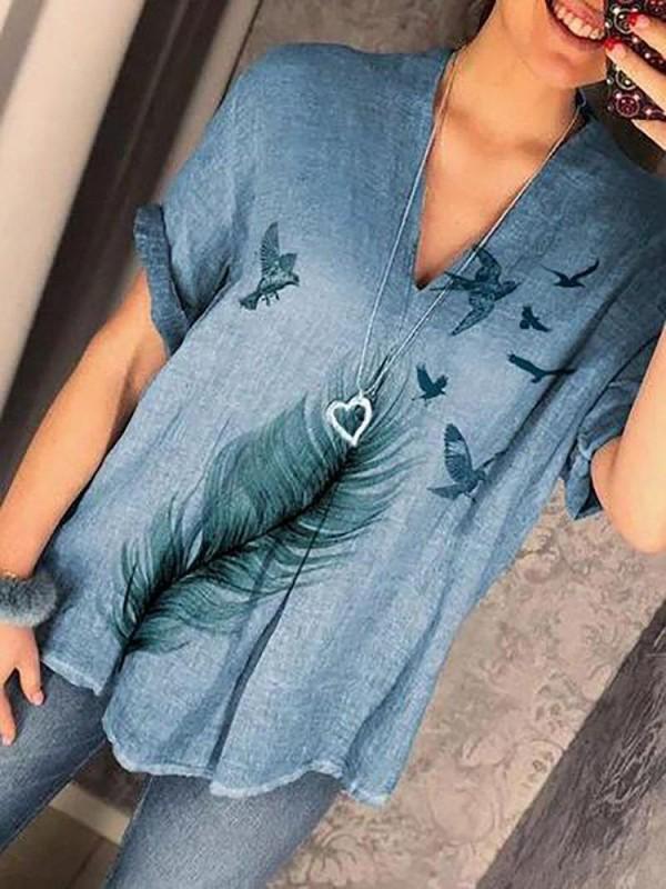 Casual Print Feather Vneck Short Sleeve Overhead Blouse