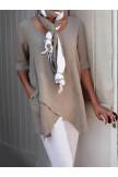 Half Sleeve Irregular Plus Size Blouses Asymmetrical Hem Shirt